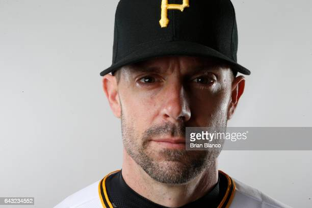 Chris Stewart of the Pittsburgh Pirates poses for a photograph during MLB spring training photo day on February 19 2017 at Pirate City in Bradenton...