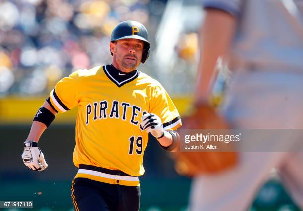 Chris Stewart of the Pittsburgh Pirates trots into third after hitting a triple in the second inning against the New York Yankees at PNC Park on...