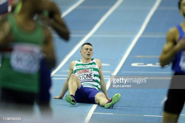 Chris Stone reacts after coming 2nd in the Men's 200m Final during Day Two of the SPAR British Athletics Indoor Championships at Arena Birmingham on...