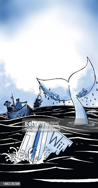 "Chris Strach color illustration of a play on classic theme of ""Moby Dick,"" but with a ""Wii"" video game as the white whale being pursued by Captain..."