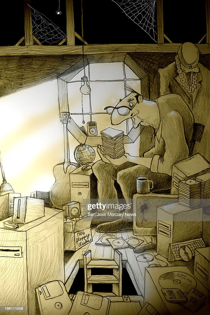 Chris Strach color illustration of man in attic crowded with floppy disks old computer monitors & ILLUSTRATION: Storing Old Computer Stuff Pictures | Getty Images