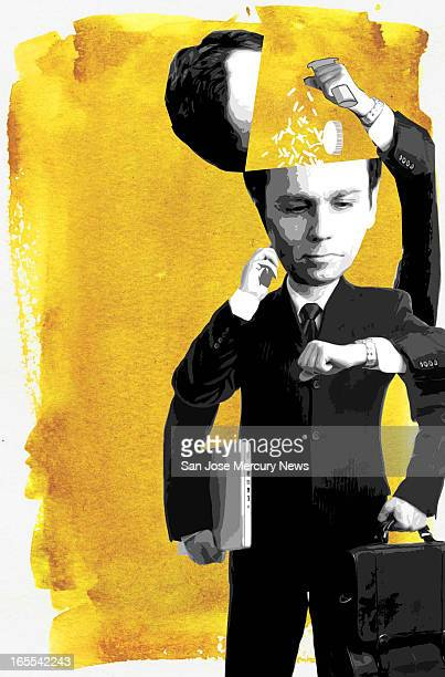 Chris Strach color illustration of multiarmed businessman pouring prescription drugs into head answering cell phone checking watch while toting...