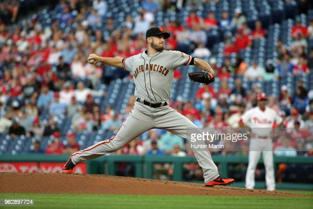 Chris Stratton of the San Francisco Giants throws a pitch during a game against the Philadelphia Phillies at Citizens Bank Park on May 9 2018 in...