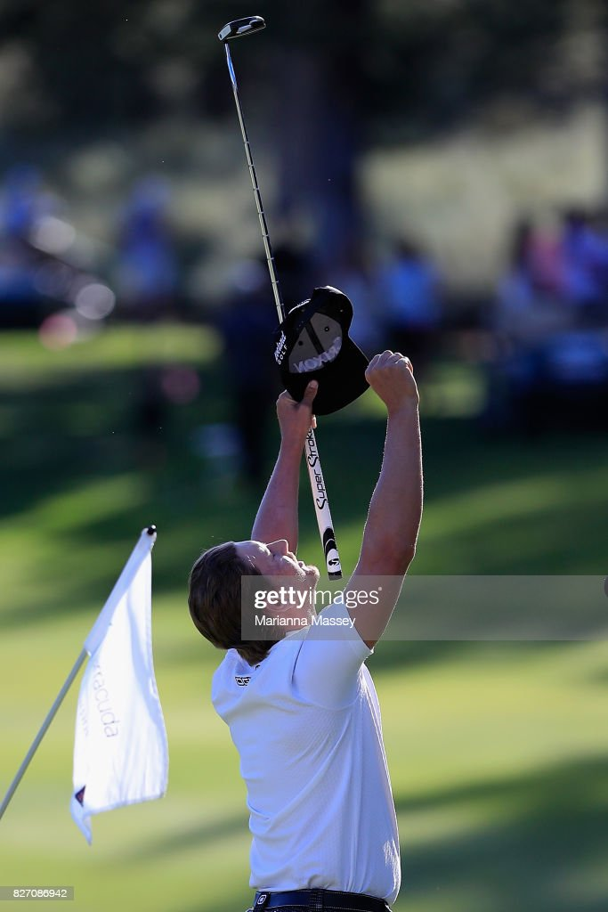 Chris Stroud celebrates after putting in to win during a second play-off hole during the final round of the Barracuda Championship at Montreux Country Club on August 6, 2017 in Reno, Nevada.