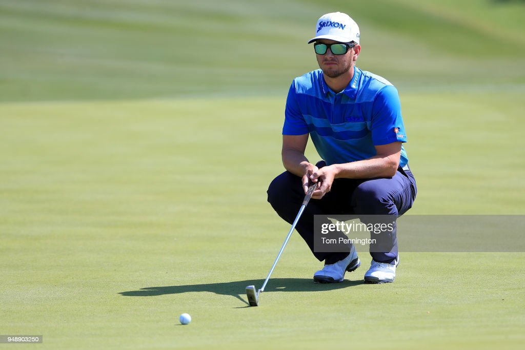 Chris Stroud looks over a putt on the eighth green during the first round of the Valero Texas Open at TPC San Antonio AT&T Oaks Course on April 19, 2018 in San Antonio, Texas.