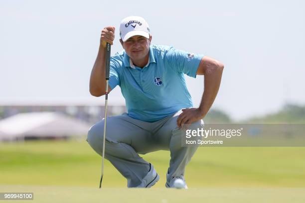 Chris Stroud of the United States lines up his putt on during the second round of the 50th anniversary AT&T Byron Nelson on May 18, 2018 at Trinity...