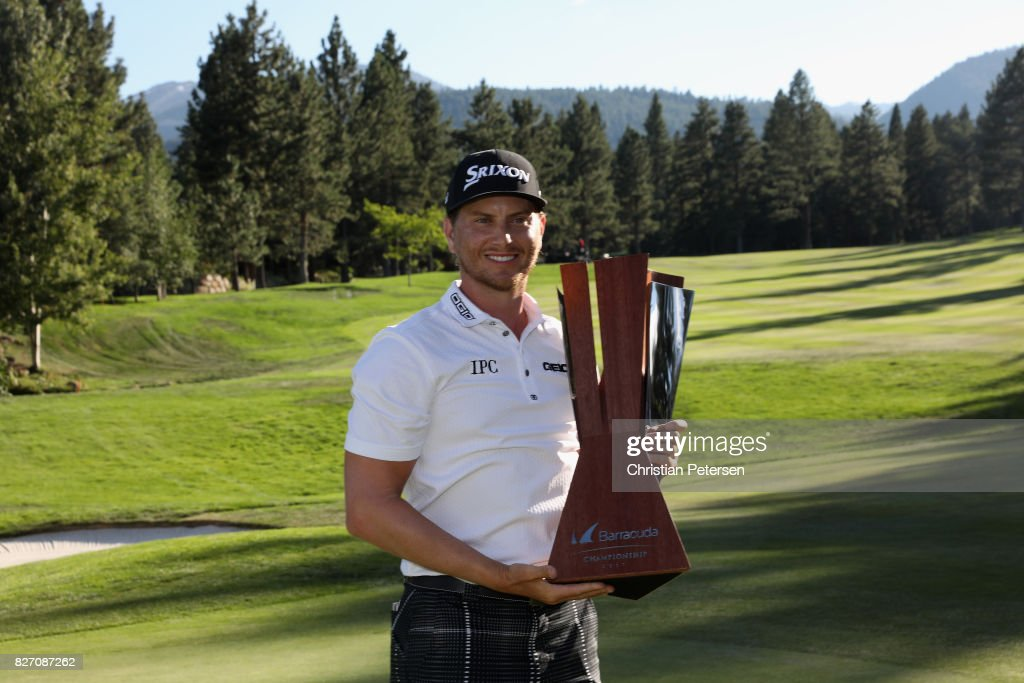 Chris Stroud poses with the trophy after putting in to win during a second play-off hole during the final round of the Barracuda Championship at Montreux Country Club on August 6, 2017 in Reno, Nevada.