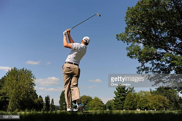 Chris Stroud tees off on during the second round of The Greenbrier Classic at The Greenbrier Resort on July 30, 2010 in White Sulphur Springs, West...