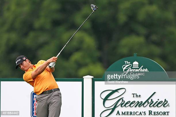 Chris Stroud tees off on the 17th hole during the second round of the Greenbrier Classic at the Old White TPC on July 4 2014 in White Sulphur Springs...