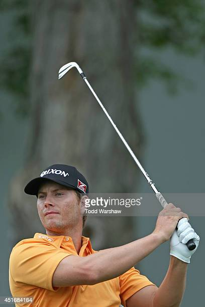 Chris Stroud tees off on the 18th hole during the second round of the Greenbrier Classic at the Old White TPC on July 4, 2014 in White Sulphur...