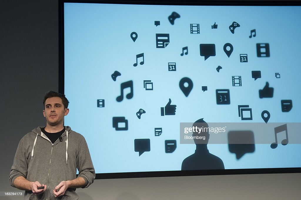 Chris Struhar, tech lead for Facebook Inc., speaks during an event at the company's headquarters in Menlo Park, California, U.S., on Thursday, March 7, 2013. Mark Zuckerberg, chief executive officer and founder of Facebook Inc., discussed the social-network site's upgraded News Feed which includes bigger photos, information sorted into topics and a more consistent design across devices. Photographer: David Paul Morris/Bloomberg via Getty Images Chris Struhar