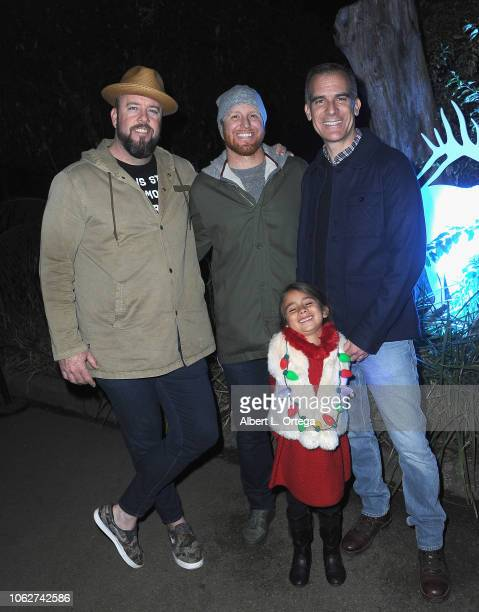 Chris Sullivan Justin Turner Eric Garcetti and Maya Garcetti attend the LA Zoo's Turning On The Holiday Lights Ceremony held at Los Angeles Zoo on...