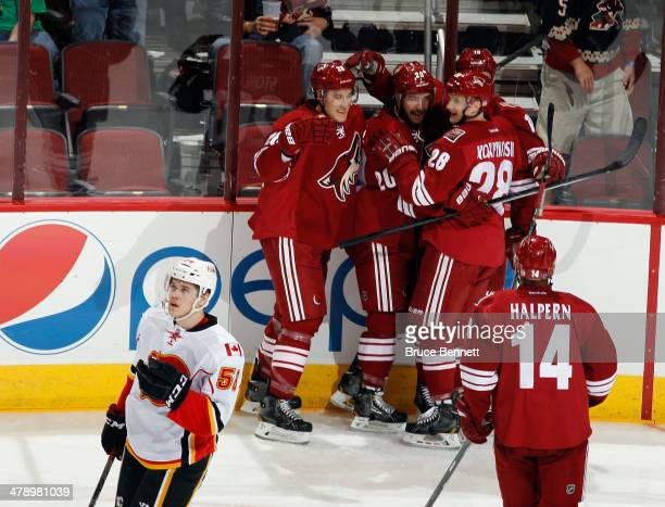 Chris Summers of the Phoenix Coyotes celebrates his first NHL goal at 435 of the first period against the Calgary Flames at the Jobingcom Arena on...