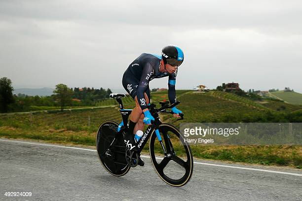 Chris Sutton of Australia and Team SKY in action during the twelfth stage of the 2014 Giro d'Italia a 42km Individual Time Trial stage between...