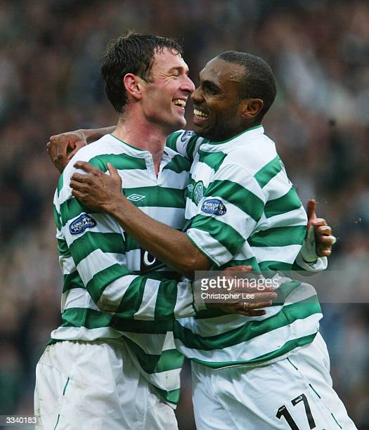 Chris Sutton of Celtic celebrates scoring their third goal with Didier Agathe during the Tennents Scottish FA Cup Semi Final match between Livingston...