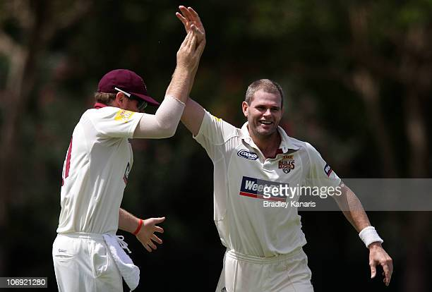 Chris Swan of the Bulls celebrates after taking the wicket of Aiden Blizzard of the Redbacks during day one of the Sheffield Shield match between the...