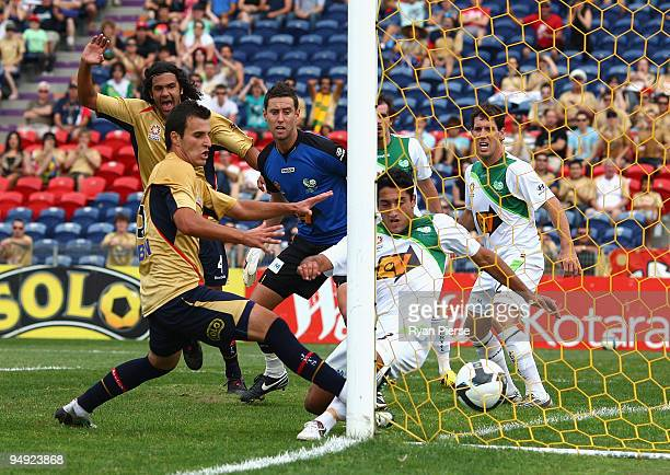 Chris Tadrosse of the Fury scores an own goal during the round 20 ALeague match between the Newcastle Jets and the North Queensland Fury at...