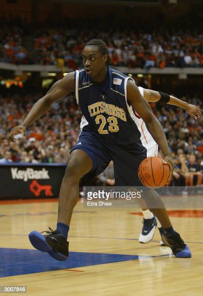 Chris Taft of the Pittsburgh Panthers drives during the game against the Syracuse Orangemen on January 24 2004 at the Carrier Dome in Syracuse New...