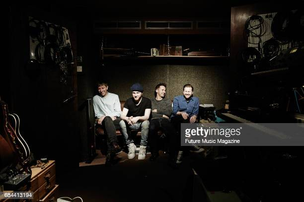 Chris Talbot Tom Fleming Ben Little and Hayden Thorpe of English indie rock group Wild Beasts photographed at a rehearsal studio in London on June 13...