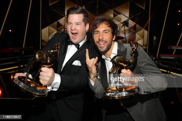 Chris Tall and Max Giesinger pose with their awards during the 71st Bambi Awards show at Festspielhaus BadenBaden on November 21 2019 in BadenBaden...