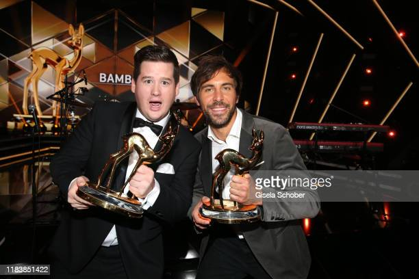Chris Tall and Max Giesinger with award during the 71st Bambi Awards final applause at Festspielhaus BadenBaden on November 21 2019 in BadenBaden...