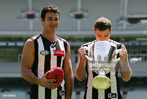 Chris Tarrant and Heath Shaw pose in the new guernsey for the 2011 AFL season during a Collingwood Magpies AFL press conference at Melbourne Cricket...