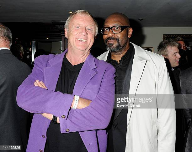 Chris Tarrant and Lenny Henry celebrate backstage after the We Will Rock You 10 Year Anniversary performance at The Dominion Theatre on May 14 2012...