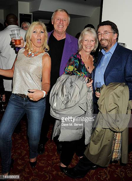 Chris Tarrant Babs Powell and Robert Powell celebrate backstage after the We Will Rock You 10 Year Anniversary performance at The Dominion Theatre on...