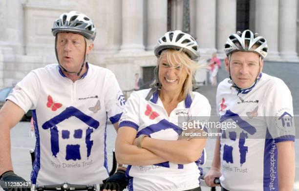 Chris Tarrant Ingrid Tarrant and Adam Woodyatt during Cardiff Celebrity Bike Ride at St Pauls Cathedral London in London Great Britain