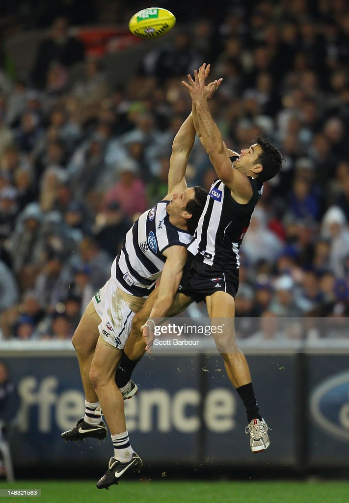 Chris Tarrant of the Magpies takes a mark during the AFL Round 16 game between the Geelong Cats and the Collingwood Magpies at the Melbourne Cricket Ground on July 14, 2012 in Melbourne, Australia.