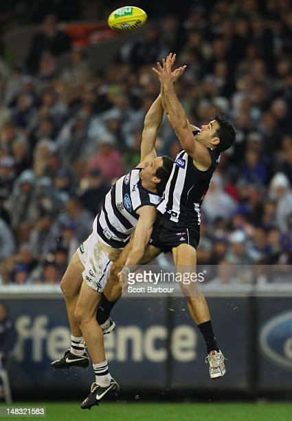 Chris Tarrant of the Magpies takes a mark during the AFL Round 16 game between the Geelong Cats and the Collingwood Magpies at the Melbourne Cricket...