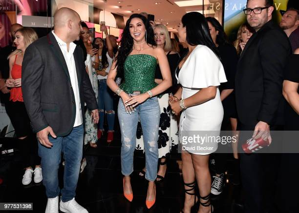 Chris Tawil Jaclyn Hill and Linda Tawil attend the Morphe store opening at the Miracle Mile Shops at Planet Hollywood Resort Casino on June 16 2018...