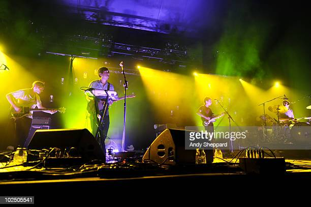 Chris Taylor Daniel Rossen Ed Droste and Christopher Bear of Grizzly Bear perform as part of the Serpentine Summer Sessions 2010 at Hyde Park on June...