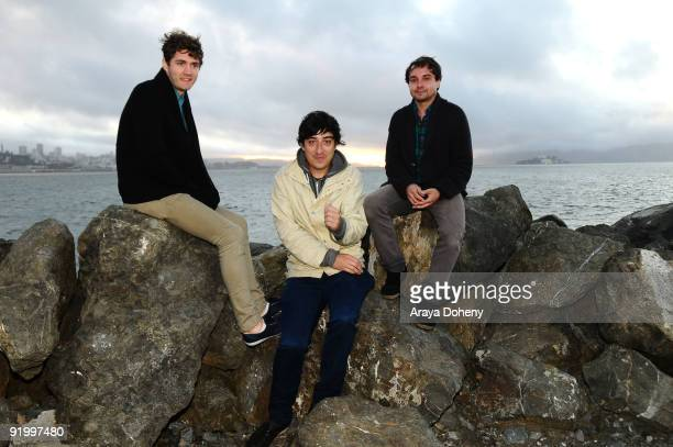 Chris Taylor Ed Droste and Daniel Rossen of Grizzly Bear backstage on Day 2 of the Treasure Island Music Festival on October 18 2009 in San Francisco...