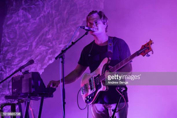 Chris Taylor of Grizzly Bear performs on the Mountain stage during day 3 at Greenman Festival on August 19, 2018 in Brecon, Wales.