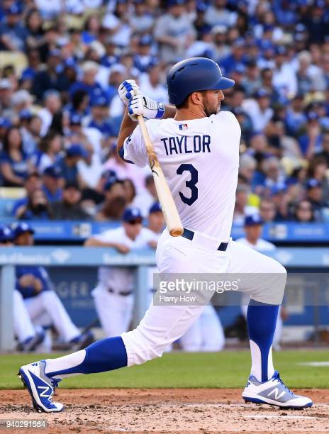 Chris Taylor of the Los Angeles Dodgers at bat against the San Francisco Giants during the 2018 Major League Baseball opening day at Dodger Stadium...
