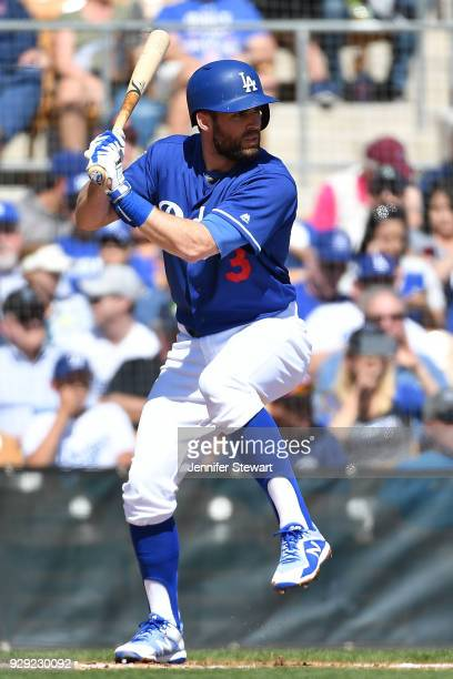Chris Taylor of the Los Angeles Dodgers bats in the spring training game against the Cleveland Indians at Camelback Ranch on March 1 2018 in Glendale...