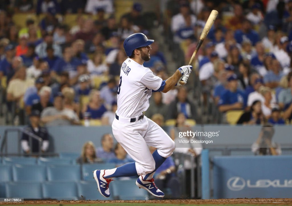 Chris Taylor #3 of the Los Angeles Dodgers hits a double to deep left field during the third inning of the MLB game against the San Diego Padres at Dodger Stadium on August 11, 2017 in Los Angeles, California. The Padres defeated the Dodgers 4-3.