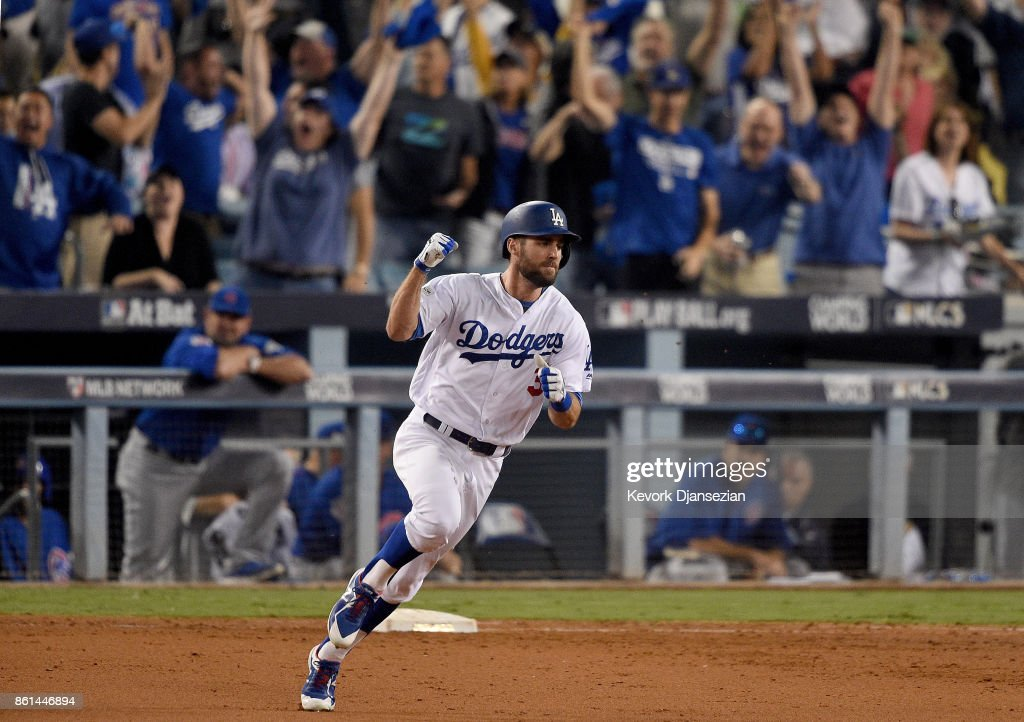 Chris Taylor #3 of the Los Angeles Dodgers hits a solo home run to right field against the Chicago Cubs during the sixth inning in Game One of the National League Championship Series at Dodger Stadium on October 14, 2017 in Los Angeles, California.