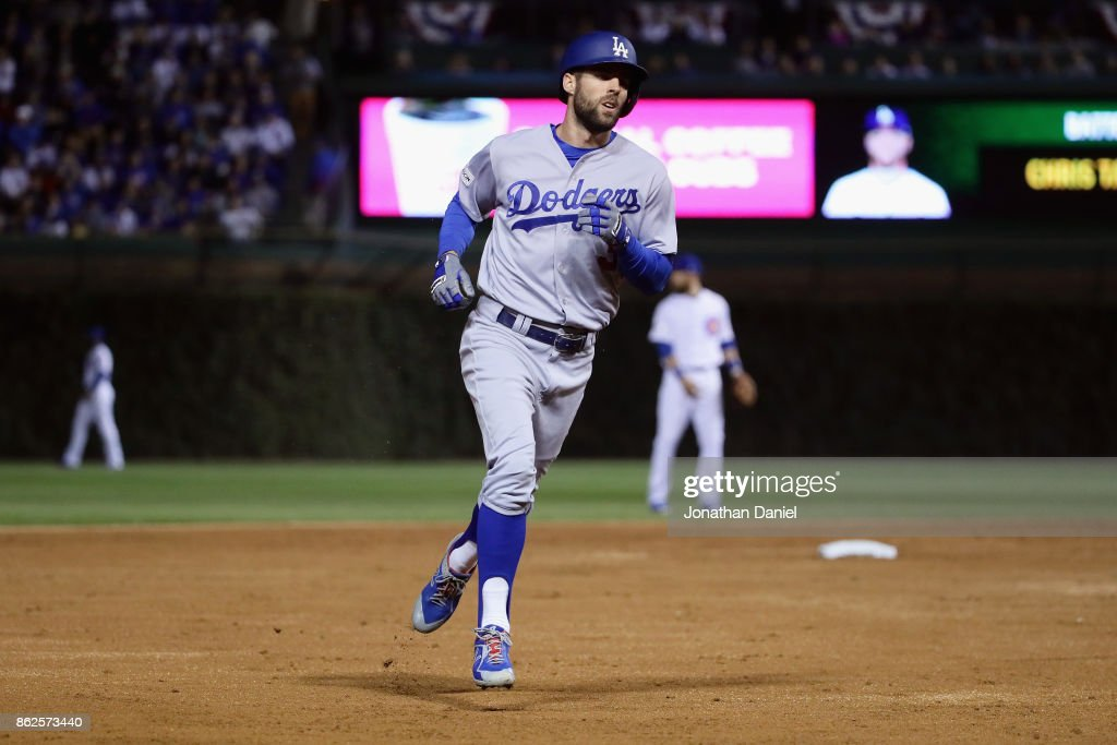 Chris Taylor #3 of the Los Angeles Dodgers rounds the bases after hitting a home run in the third inning against the Chicago Cubs during game three of the National League Championship Series at Wrigley Field on October 17, 2017 in Chicago, Illinois.