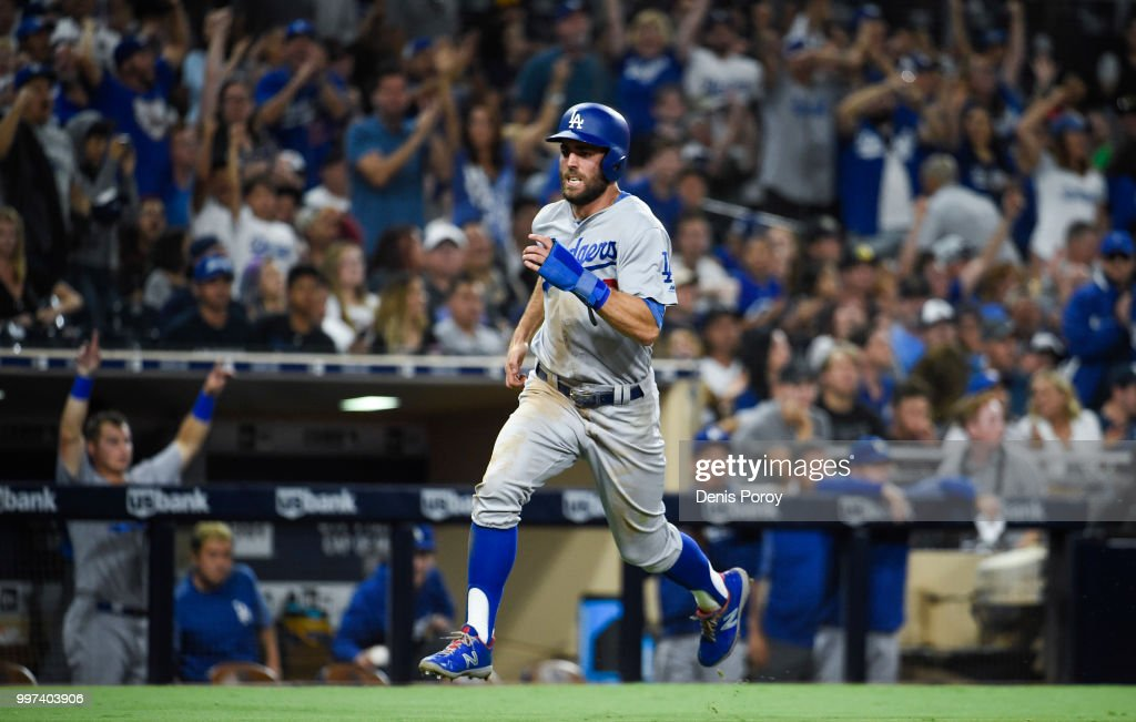 Chris Taylor #3 of the Los Angeles Dodgers runs as he scores during the seventh inning of a baseball game against the San Diego Padres at PETCO Park on July 12, 2018 in San Diego, California.