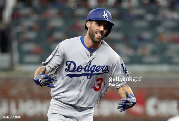 Chris Taylor of the Los Angeles Dodgers runs the bases after hitting a tworun home run in the fifth inning against the Atlanta Braves during Game...