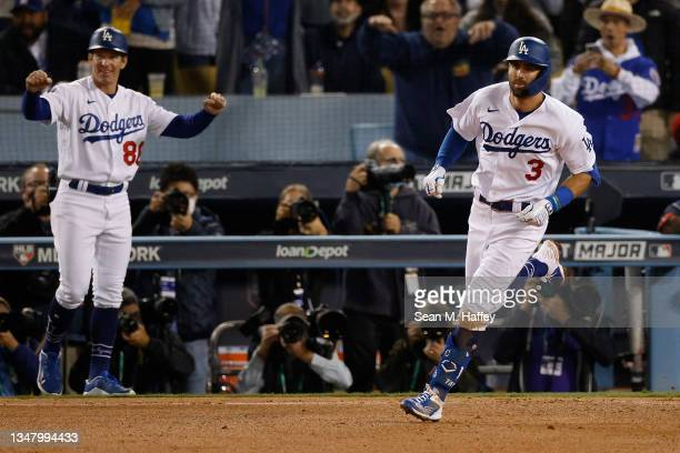 Chris Taylor of the Los Angeles Dodgers runs the bases following a solo home run during the seventh inning of Game Five of the National League...