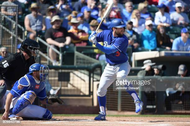Chris Taylor of the Los Angeles Dodgers stands at bat in the spring training game against the Kansas City Royals at Surprise Stadium on February 24...