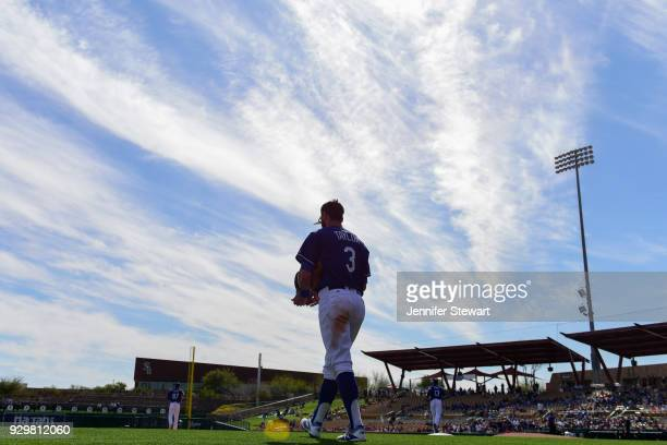 Chris Taylor of the Los Angeles Dodgers takes the field for the spring training game against the Cleveland Indians at Camelback Ranch on March 1 2018...