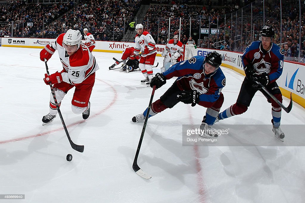 Chris Terry #25 of the Carolina Hurricanes controls the puck against Matt Duchene #9 and Mikko Rantanen #96 of the Colorado Avalanche at Pepsi Center on October 21, 2015 in Denver, Colorado.