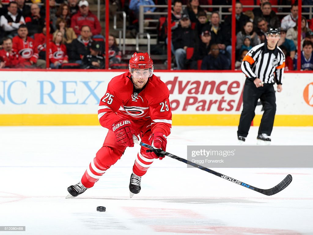 Chris Terry of the Carolina Hurricanes passes the puck during an NHL
