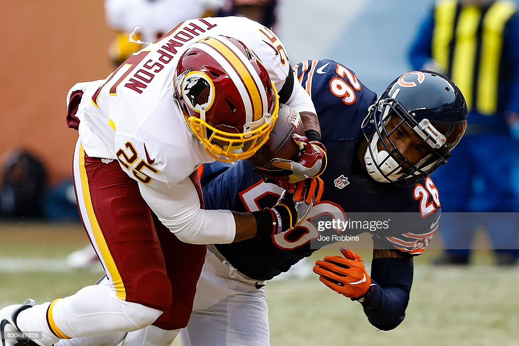 Chris Thompson #25 of the Washington Redskins scores a touchdown against Deon Bush #26 of the Chicago Bears in the first quarter at Soldier Field on December 24, 2016 in Chicago, Illinois.