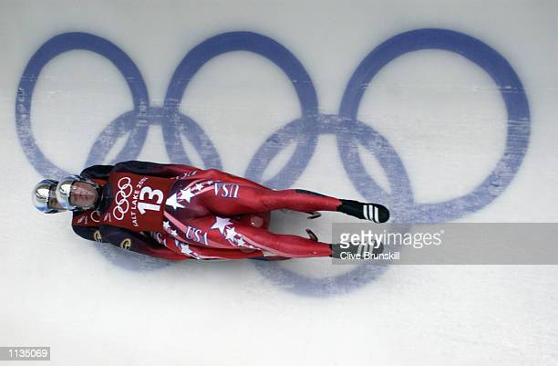 Chris Thorpe and Clay Ives of the USA practice for the men's doubles luge event during the Salt Lake City Winter Olympic Games on February 14 2002 at...