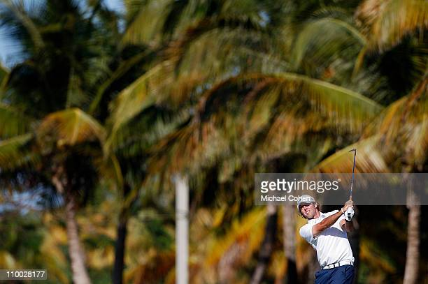 Chris Tidland hits his second shot on the 17th hole during the third round of the Puerto Rico Open presented by seepuertoricocom at Trump...